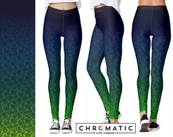 Ombre Lace Pattern Printed Leggings | Women's Leggings | Ankle or Capri Length