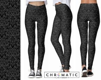 Gray Damask Pattern Printed Leggings | Women's Leggings | Ankle or Capri Length
