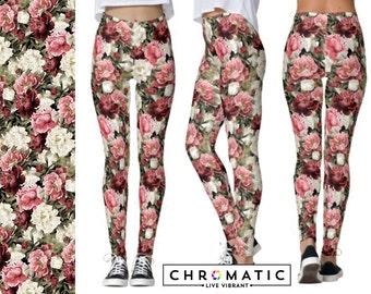 Peony Floral Pattern Printed Leggings | Women's Leggings | Ankle or Capri Length