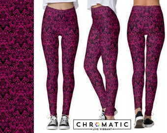 Fuschia Damask Pattern Printed Leggings | Women's Leggings | Ankle or Capri Length