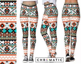 Aztec Tribal Pattern Printed Leggings | Women's Leggings | Ankle or Capri Length