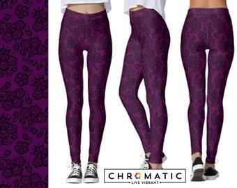 Plum Purple Lace Pattern Printed Leggings | Women's Leggings | Ankle or Capri Length