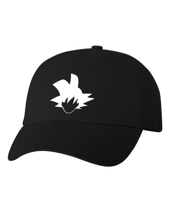 Goku - BLACK Unstructured Dad Hat - WHITE Vinyl Design 9ace4a8ba1e