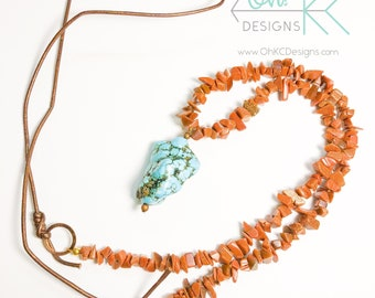 Necklace - Goldstone chip bead necklace with Turquoise pendant