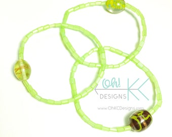 Bracelet - Beaded Stacking Bracelets in Shades of Green