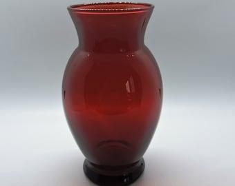 Vintage Anchor Hocking Royal Ruby Red 4 Glass Ivy Vase Round Ruffled Rim MCM