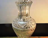 Vintage Cut And Etched Crystal Table Lamp With Brass Metal Base