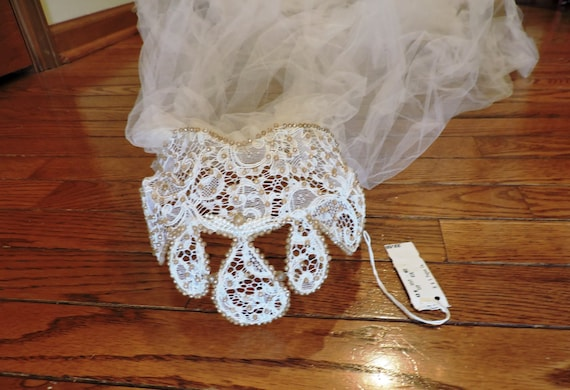 Vintage Beaded Lace and Tulle Juliet Cap Wedding V