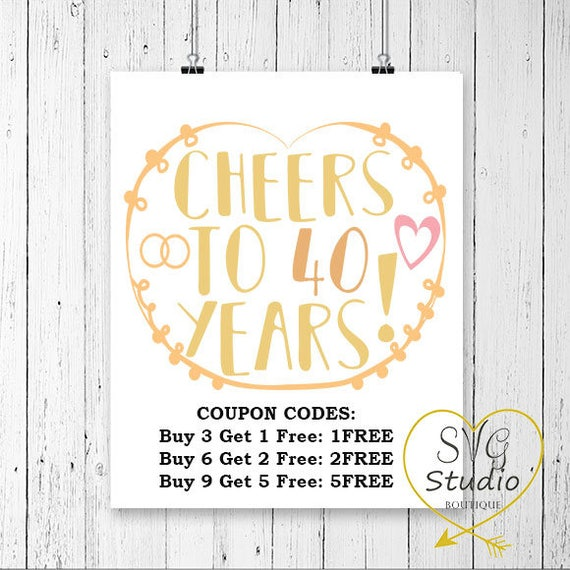 SVG Cutting File Cheers to 40 Years Wedding Anniverary Quote | Etsy