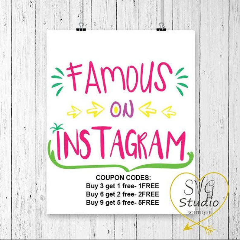 Famous On Instagram Svg Dxf Cutting Files Cameo Svg Files Etsy