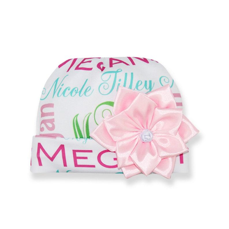 Personalized Baby Girl Monogram Light PinkGift for babyCustom Baby CapBaby ruffle pantsBaby BodysuitsBaby onesieBaby girl hat