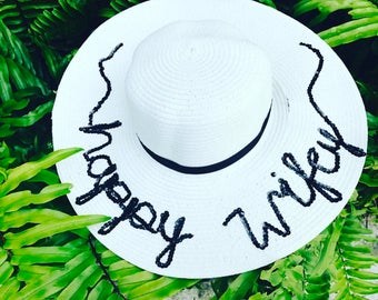 Happy Wife Hat   Happy Wifey   Personalized Sun Hat   Floopy Hat   Beach Hat    Name Hat   Sequin Hat   Travel Hat 8c6ffc99d7c