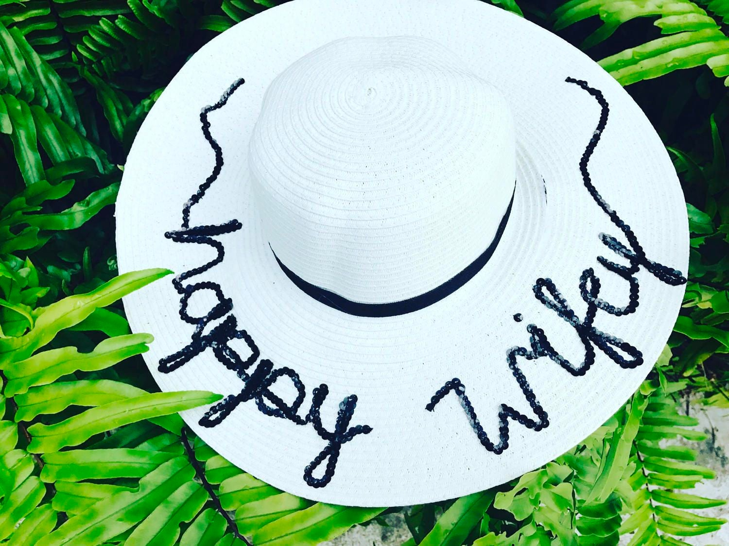Happy Wife Hat   Happy Wifey   Personalized Sun Hat   Floopy Hat   Beach Hat    Name Hat   Sequin Hat   Travel Hat f4b685c86ec