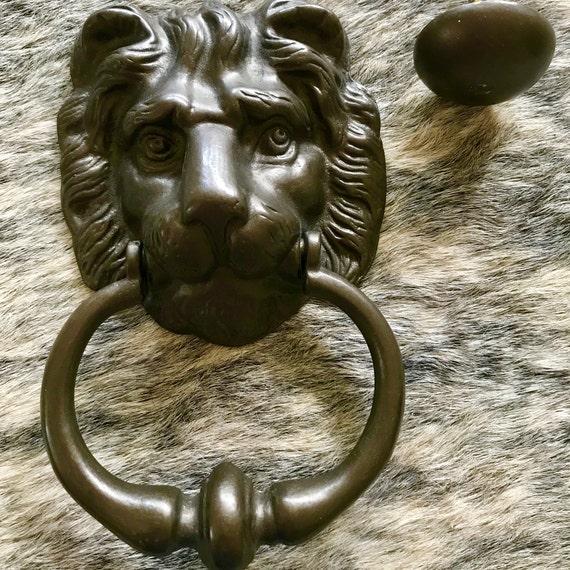 Vintage Peerage Brass Lion Head Door Knocker, Made in England - Vintage Peerage Brass Lion Head Door Knocker Made In England Etsy