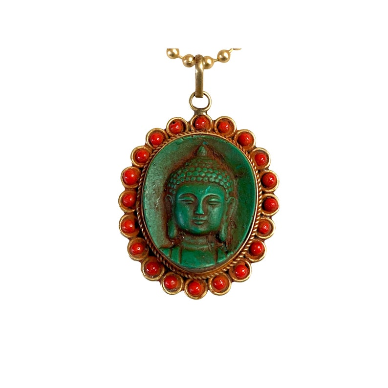 Vintage Tibetan Buddha Pendant Necklace
