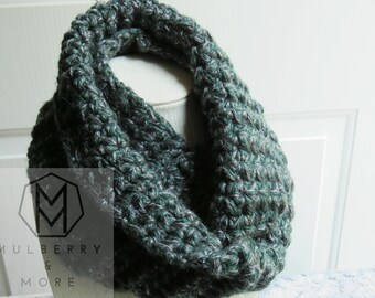 Infinity Scarf- Crochet Grey, Green, Knit, Gender Neutral, Handmade, Acrylic, Winter Scarves, Fall, Gray