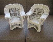 Vintage White Wicker Doll Chairs, Good Size for American Girl Dolls. Original Owner. Photo prop
