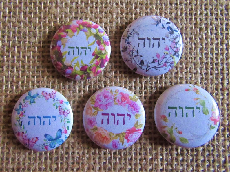 Custom Pins for Conventions, Gifts and Traveling  Set of 5 JW pins   Tetragrammaton set of 5