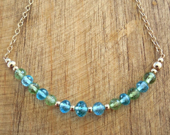 August Birthstone Bar Necklace - Peridot and Apatite