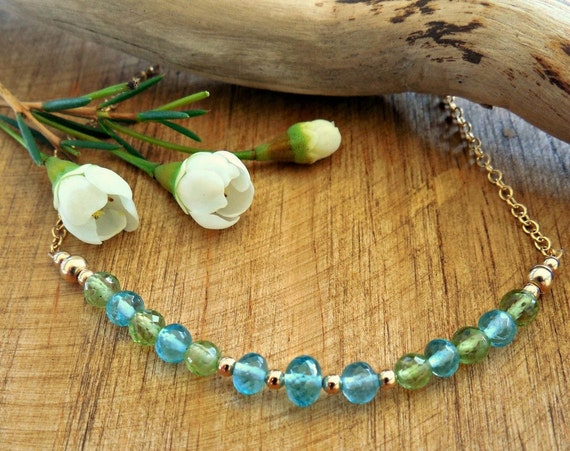 Bar Necklace  - Peridot and Blue Apatite