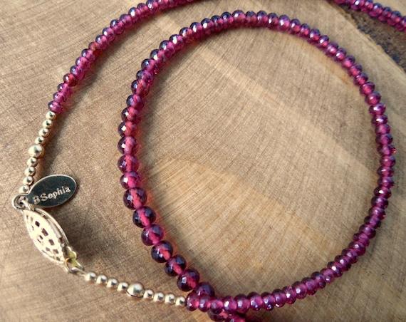 Garnet Gemstone Strand Necklace