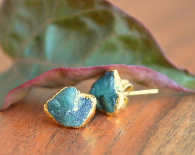 Raw Emerald Earrings | May Birthstone | Birthday Jewelry Gift