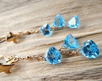 Wedding Earrings | Bridal Dangle Earrings | Gift For Bridesmaids | Topaz Dangle Earrings | Wedding Jewelry | 14k Goldfill | 5-7mm Trilliants