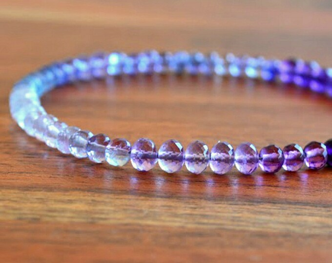 Layering Amethyst Bracelet with Moonstone, Tanzanite, Fluorite and Purple Amethyst