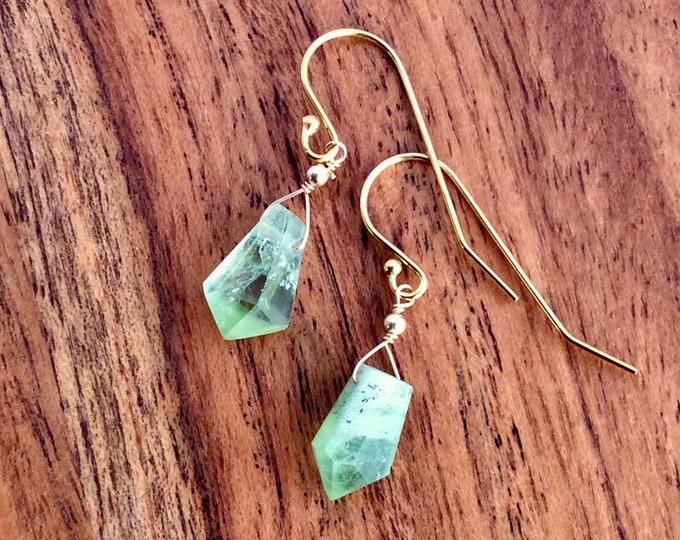 Raw Peridot Stone Earrings