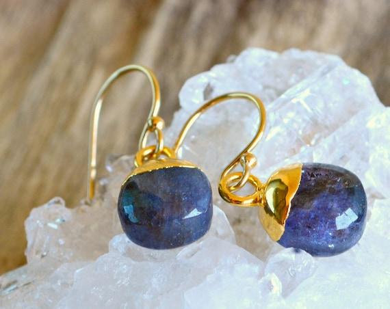Raw Sapphire Gold Drop Earrings
