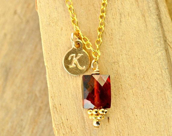 Personalized Garnet Birthstone Necklace