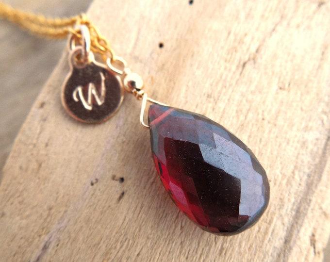 Garnet Necklace ~ Personalized January Birthstone Gift