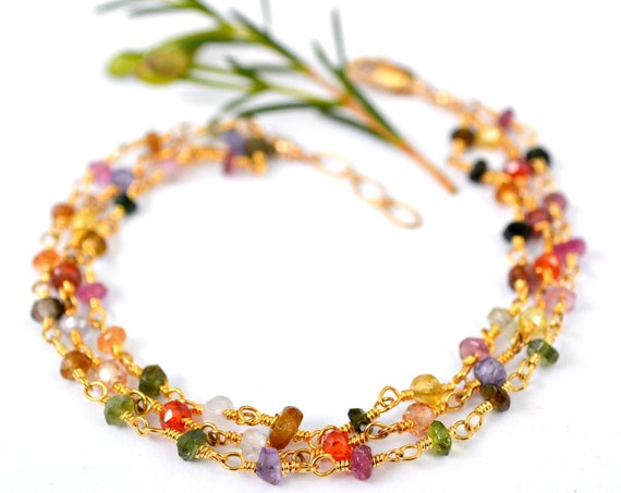 Multi Gemstone Bracelet | Citrine, Tanzanite, Tourmaline, Peridot, Carnelian, and more gemstones