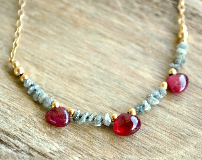 Natural Diamond and Ruby Necklace