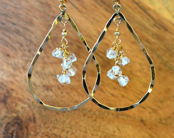 Raw Diamond Earrings | Bridesmaid Earring Gift | Herkimer Diamonds Dangling in 14k Gold Fill Teardrop Hoops