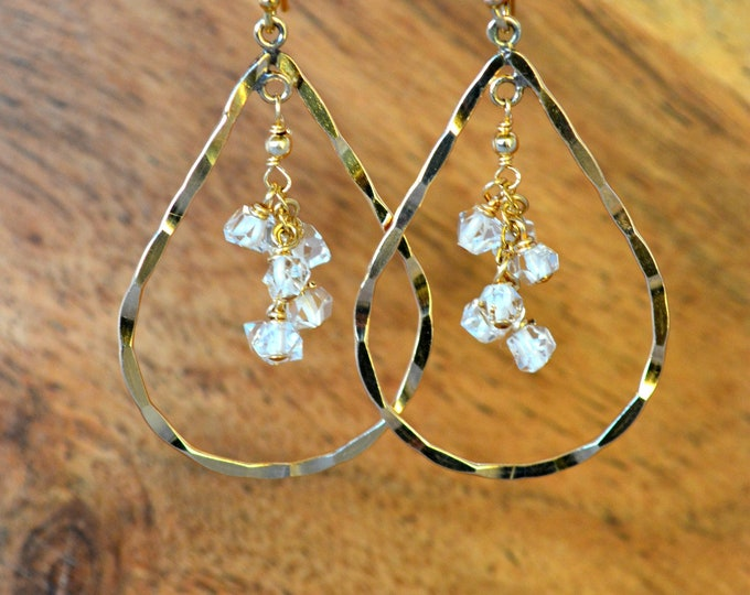 Raw Herkimer Diamond Earrings ~ Bridesmaid Earring Gift