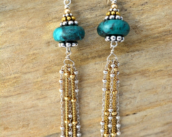 Gold and Silver Turquoise Earrings