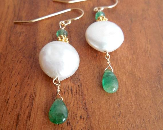 Coin Pearl Earrings - Beach Chic Wedding