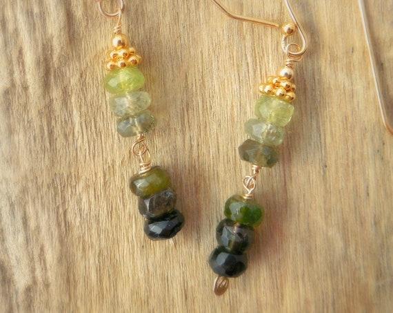 Spring Bridesmaids | June Bride | Green Tourmaline Dangle Earrings