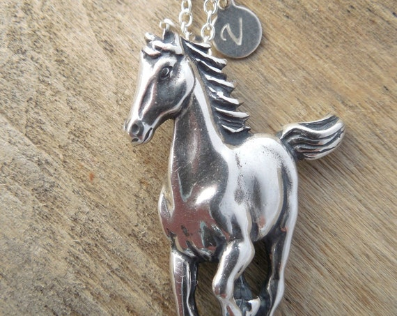 Silver Running Horse Necklace ~ Custom Initials