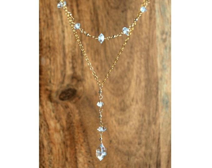 Herkimer Diamond Necklace | April Birthstone | Raw Crystal Gift