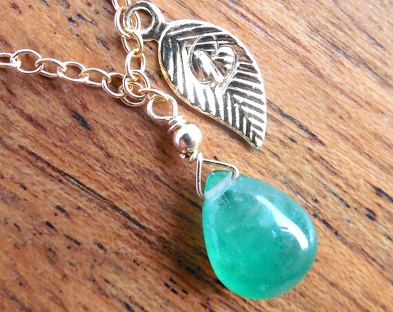 Gold Initial Leaf Tag, Emerald Necklace