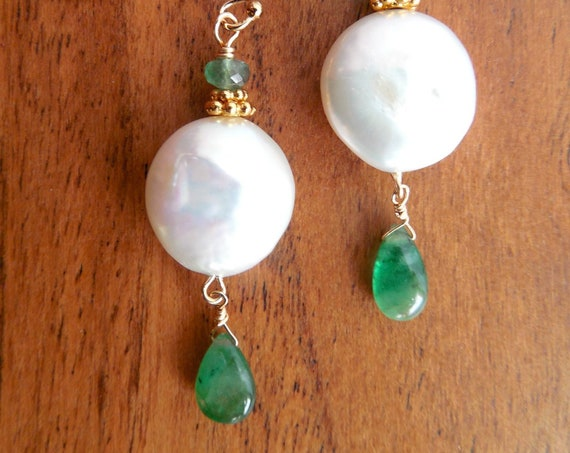 Emeralds And Pearl Earrings