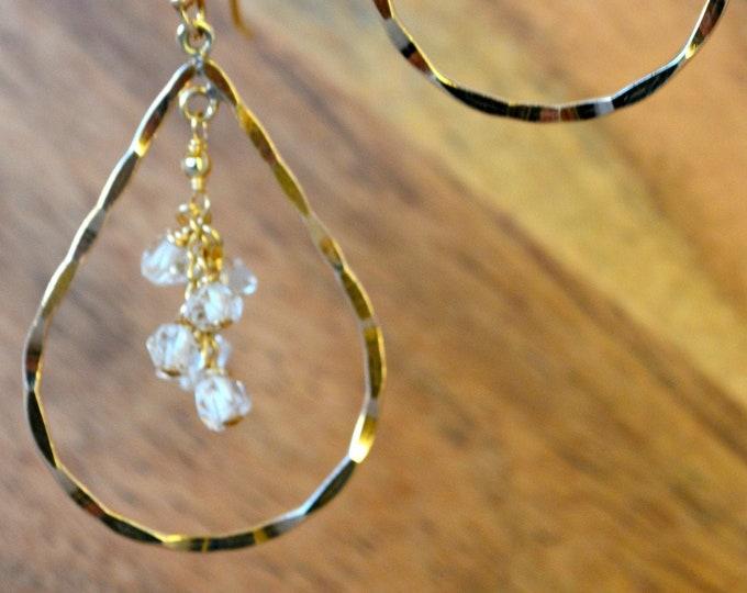 14k Gold Fill Teardrop Hoops With Herkimer Diamonds