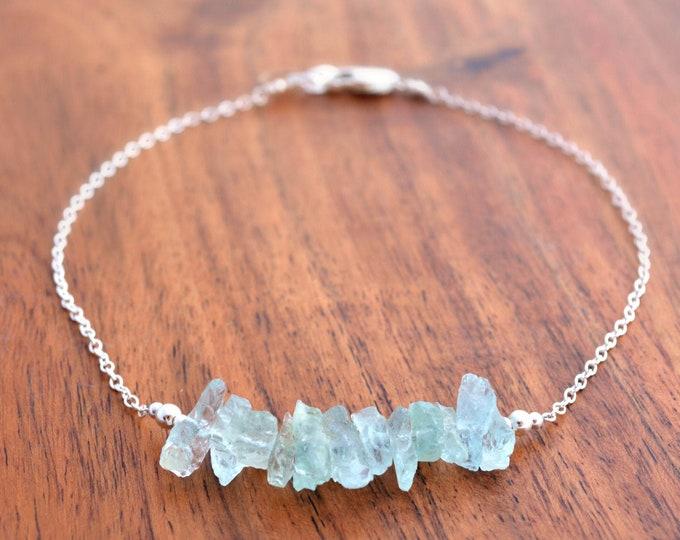 Raw Aquamarine Bracelet with Over 14 ct. Gorgeous Aquamarine Nuggets