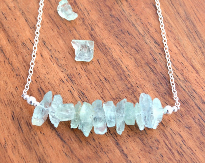 Raw Aquamarine Necklace - Bridal Jewelry