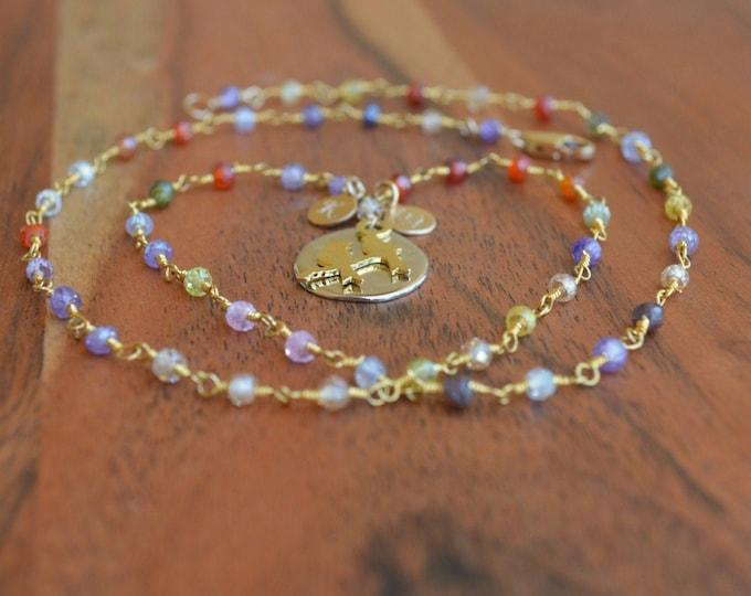 Bird Charm Gemstone Necklace