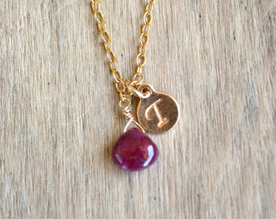 Ruby Necklace With Customized Initial Gold Tag