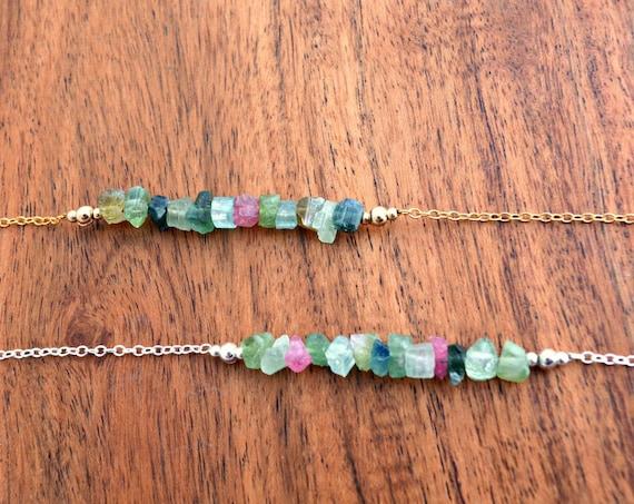 Pink Green Multi Tourmaline Bracelet