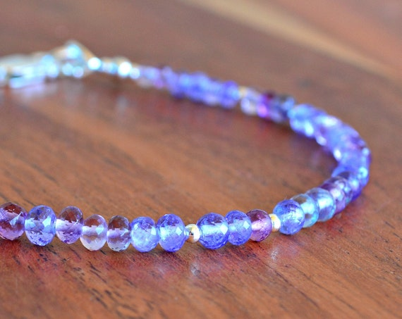 Birthstone Jewelry ~ Tanzanite Beaded Bracelet